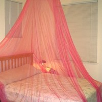 Pink Color with daisy flower decor for Twin / Crib Size Bed Canopy mosquito net