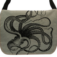 Kraken Octopus -- Canvas messenger bag -- large field bag -- adjustable strap