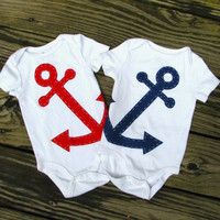 Anchor Baby Clothes Nautical Twin Baby by TheWishingElephant