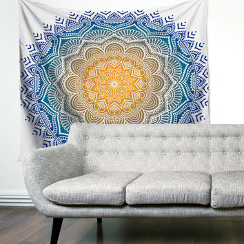Mandala Rainbow Multicolor Boho Wanderlust Unique Dorm Home Decor Wall Art Tapestry