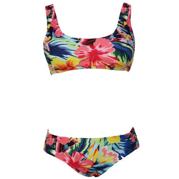 Tropical Floral Print Bikini Swimsuit