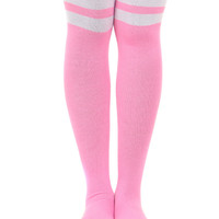 PINK GAME ON THIGH HIGH SOCKS