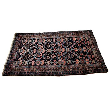 Estate Antique Persian Malayer Rug Runner Hand Knotted Coral Navy Periwinkle c1920