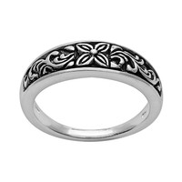 Silver Plated Flower Ring (Grey)