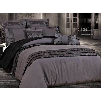 Queen Size 3pcs Stone Grey Pintuck Quilt Cover Set