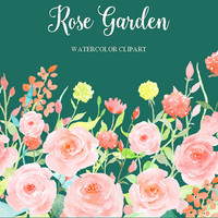 Watercolor Flower Collection Rose Garden, Watercolor Clipart