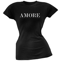 Valentine's Day Amore Black Soft Juniors T-Shirt