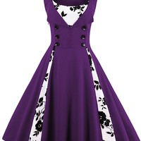 Atomic Purple Buttoned Floral Cocktail Dress