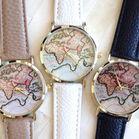 Fashion Korean Stylish Quartz World Map Watch = 5861608193