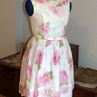 Vintage 1960s | Chiffon Party Dress with pink watercolor roses | Size S