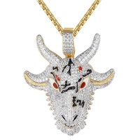 Mens Devil Goat Greatest Of All Time Animal Rapper Bling Pendant