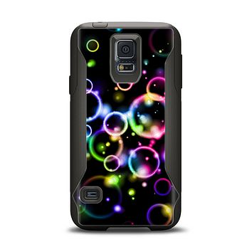 The Glowing Neon Bubbles Samsung Galaxy S5 Otterbox Commuter Case Skin Set