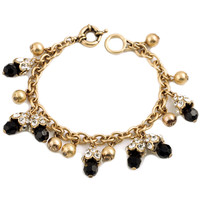 Gold and Black Chain Bracelet with Rhinestone