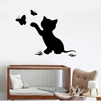 Vinyl Wall Decal Cat Kitten Butterfly Nursery Child Room Stickers Unique Gift (ig3912)