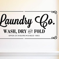Laundry WASH DRY FOLD Home Decor Custom Vinyl Wall decal