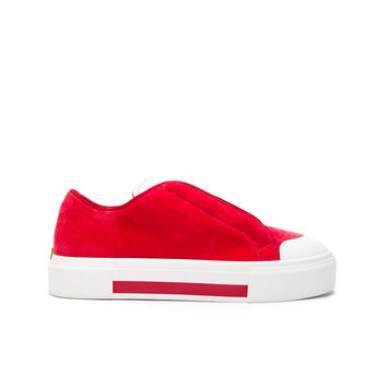 Alexander McQueen Velvet Platform Lace Up Sneakers in Red | FWRD