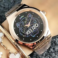 KENZO Fashion New Colorful Tiger Letter Couple Leisure Watch Wristwatch
