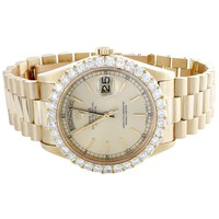Mens 18K Yellow Gold 36mm Rolex Day-Date President 18038 Diamond Watch 3.50 CT.