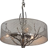 Treefold Pendant - Steel Finish with Mesh Shade