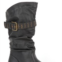 Mid Height Covered Wedge Boot with Slouched Shaft and Buckled Strap