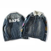 Aape Bape Badge Lamb Hair Denim Clothing Coat M ~ 2xl