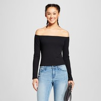 Women's Long Sleeve Off the Shoulder Rib Top - Mossimo Supply Co.™