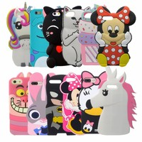 3D Cute Stitch Minnie Mouse Rubber Case For iPhone 7 6 6S Plus 5s SE Soft Silicone Cartoon Cover Back For iPhone 8 7 6S 5S Capa