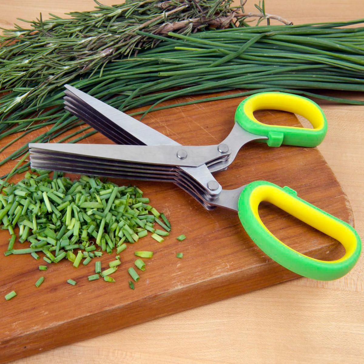 Image of Evelots® Herb Kitchen Scissors With 5 Blades Dicing Chopping Vegetables