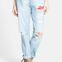 Women's Glamorous Distressed Boyfriend Jeans ,