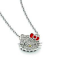 Sterling Silver Hello Kitty Diamond Collection Red Enamel Necklace QHK121