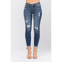 Judy Blue Destroyed Hem Skinny Jeans 82115