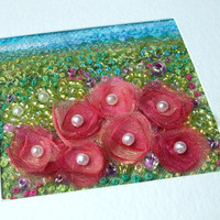 Summer garden - pink organza flowers card - handmade fabric art card - beaded and embroidered greeting card - Mothers Day card - textile art