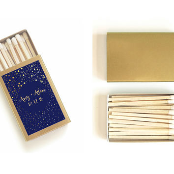 One Hundred (100) Custom Starry Night Wedding Matchboxes - Personalized Wedding Matches - Light Up the Night Favors - Celestial Matchbooks