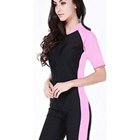 OUO Swimwear For Swimming Lover Creative Design One Piece Short Sleeves Swimsuit Perfect Fit UV Protection