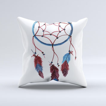 The Watercolor Red and Blue Toned Dream Catcher ink-Fuzed Decorative Throw Pillow