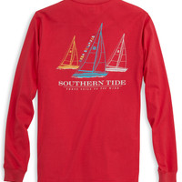 Southern Tide Tee- Three Sails- Fire