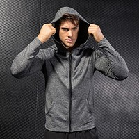 Running Jacket for Men Long Sleeve Shirt Hoodie Track Top Full Zip Sports Fitness Workout Gym Active Jacket