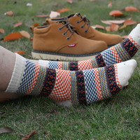 Unisex Stylish Blue, Beige & Orange Tribal Socks