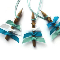 ICE BLUE Ribbon Tree Christmas decorations set of Three Pencil Tree Ornaments ready to hang in your Home or Work Space