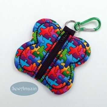 Puzzle Pieces Butterfly Coin Purse, Key Fob, Black Zipper