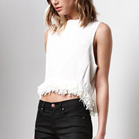 Lucca Couture Thea Fringe Linen Top at PacSun.com