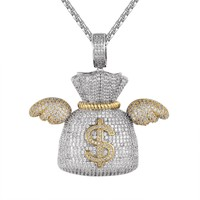 Flying Money Dollar Bag with Wings Hip Hop Pendant