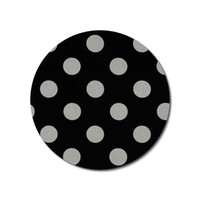 Round Computer Mouse Pad / Mat - silver metallic dots on black