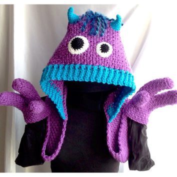 Snuggle Monsters - Hooded Scarf with Hand Pockets - Crochet PDF Pattern