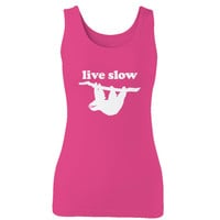 Live Slow Cute Sloth Vintage Distressed Design  Woman's Tank Top