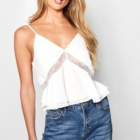 Lace Detail Woven Cami Top   Boohoo