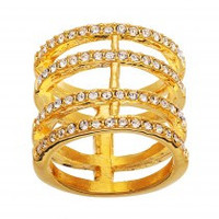 Gold Crystal Multi Ring