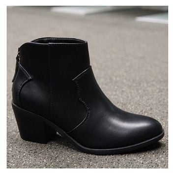 Adorable Flat Block Heel Black Bootie Boot