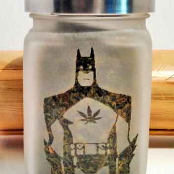 Dank BatMan Etched Glass Stash Jar- Free UPGRADE to Priority Shipping within the US