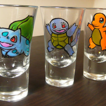 Pokemon - Original Starter Hand Painted Shot Glasses.
